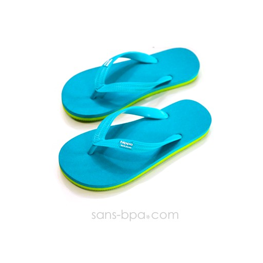 Tongs naturelles Turquoise Lime