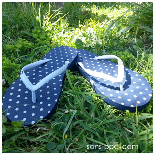 Tongs naturelles Navy Polka Dot Grey
