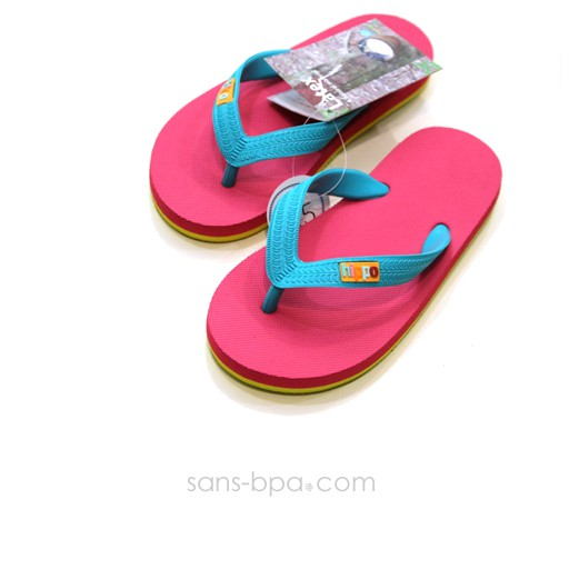 Tongs naturelles Kids PINK LIME