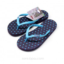 Tongs naturelles POLKA AZUR