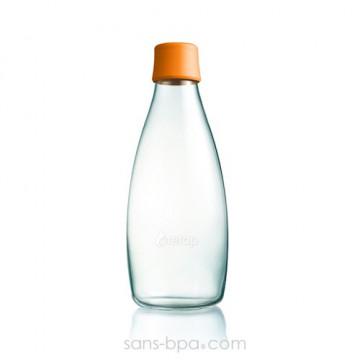 Gourde verre 800 ml - ORANGE
