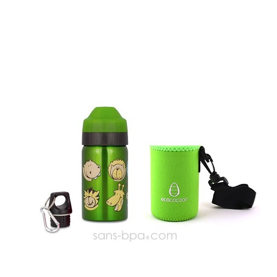 Pack gourde isotherme Zoo & sa housse Alphabet Ecococoon