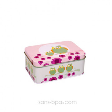 Boite métal rectangle HIBOU ROSE