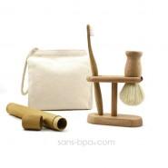 Pack TRIO Homme : Blaireau + brosse à dents Rondo + Support bois