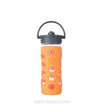 Gourde verre 350ml PAILLE - Orange