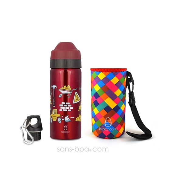Pack gourde isotherme 500 ml Constructions & sa housse Rouge Ecococoon