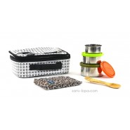 Pack Lunchbox B&W+ Boite Trio Gigogne Nature + Pack glace chocolat + Couverts 2 en 1