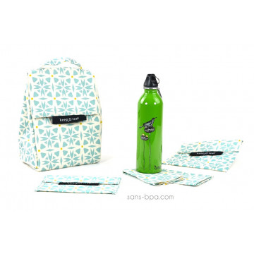 Pack Sac isotherme Lunchbag Géo + Gourde inox 600ml Bird + Bundle Géo