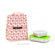 Pack Sac isotherme Lunchbag Fruits + Boite rectangle Green + Boite carrée small UKonserve