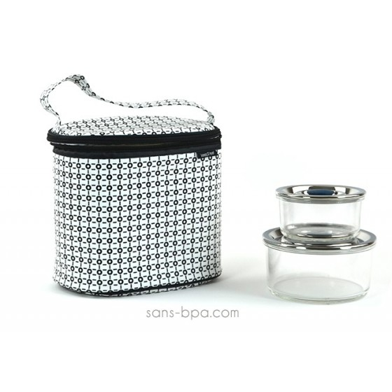 Pack Sac isotherme Cooler Bag B&W + Boites verre rondes 830ml + 400 ml Onyx