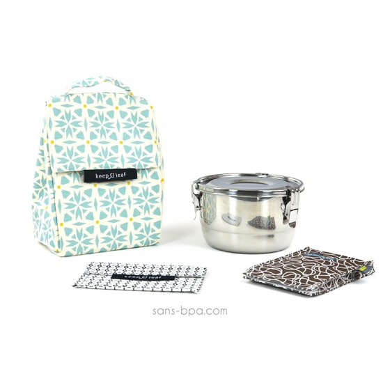 Pack Sac isotherme Lunchbag Géo + Boites inox 18 + Pack glace Chocolat + Pochette small B&W