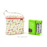 Pack Sac isotherme Cooler Bag Bloom + Kit biberon évolutif GL Pois Lavande Organic Kidz