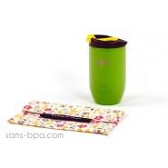 Pack Tasse isolée 240ml Doppio Vert brillant + Pochette mini Bloom