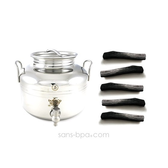 Pack Bonbonne inox 3 L + 3 filtres à charbon binchotan