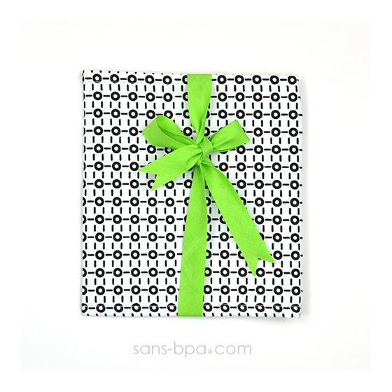 Pochette Cadeau BLACK & WHITE - ruban Vert