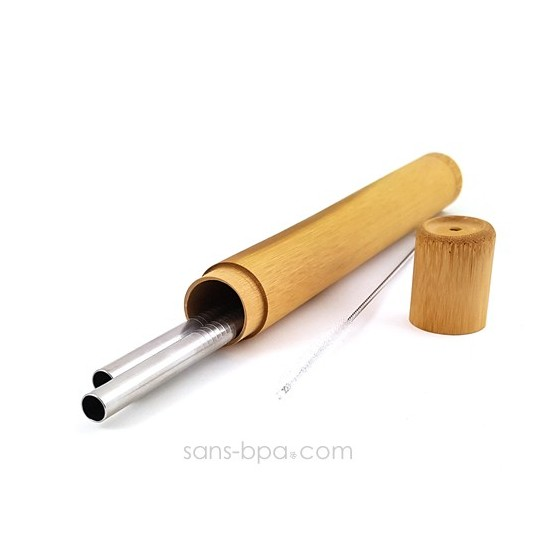 Lot 2 pailles inox SMOOTHIE dans leur étui bambou