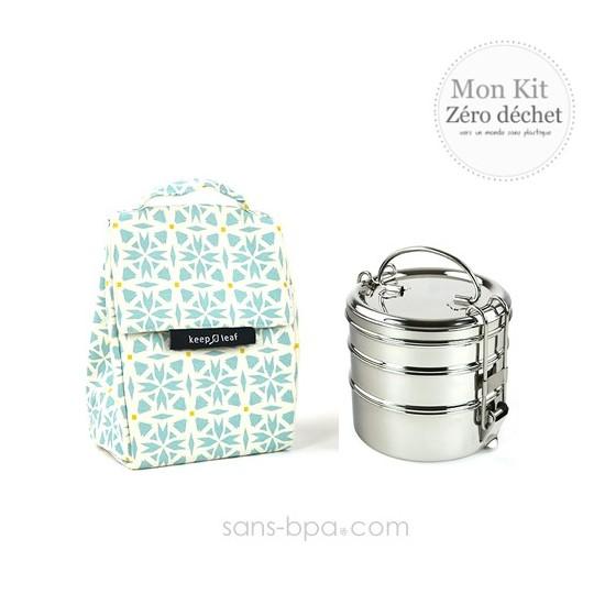 Pack Sac isotherme Lunchbag Coeurs + Tiffin inox 3 étages Jolie Ronde