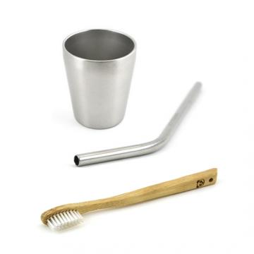 Pack promo - 1 Brosse à dents KIDS + 1 P'tite timbale + 1 paille inox courte gravée