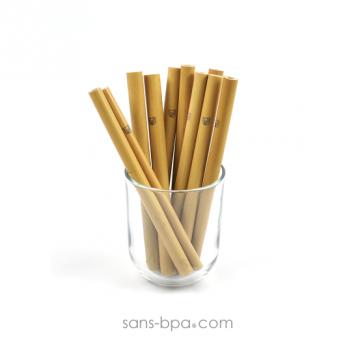 Ensemble 6 pailles bambou & leur pochon