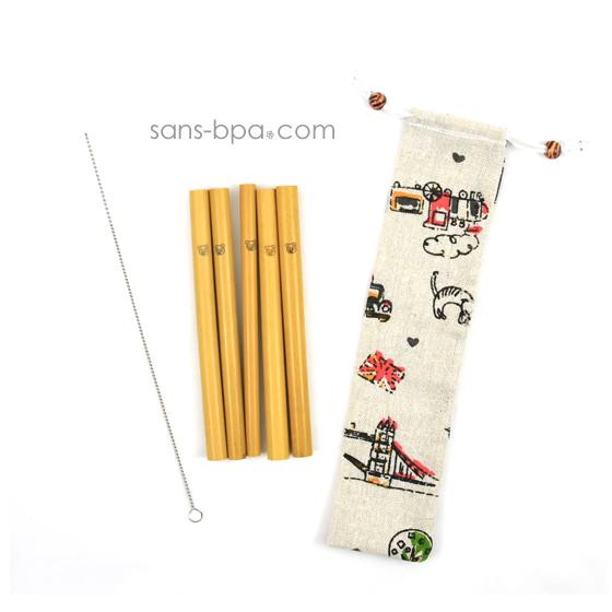 Ensemble 6 pailles KIDS bambou & leur pochon