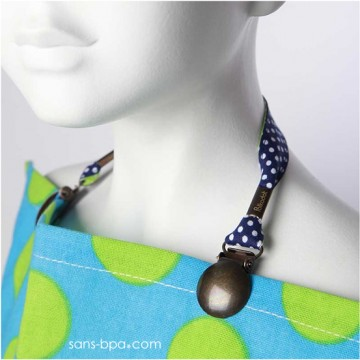 Duo serviette & son attache - BLEU A POIS