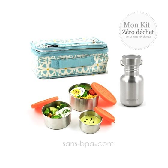 Pack Lunchbox Géo + Boite carrée XL Océan + Couverts 2 en 1