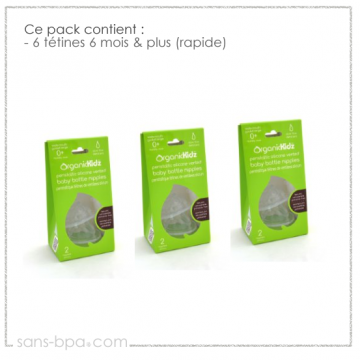 Pack 6 tétines goulot large 6 mois & plus - Organic Kidz