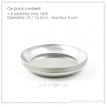 Lot 4 Assiettes inox - La P'tite
