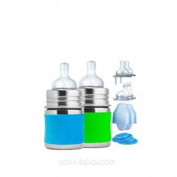 Ensemble biberons évolutifs inox 150 ml - Aqua & Green