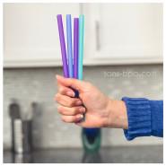 Lot 6 pailles silicones - Purple - Blue - Sea