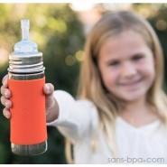 Biberon paille inox 325 ml anti-fuite