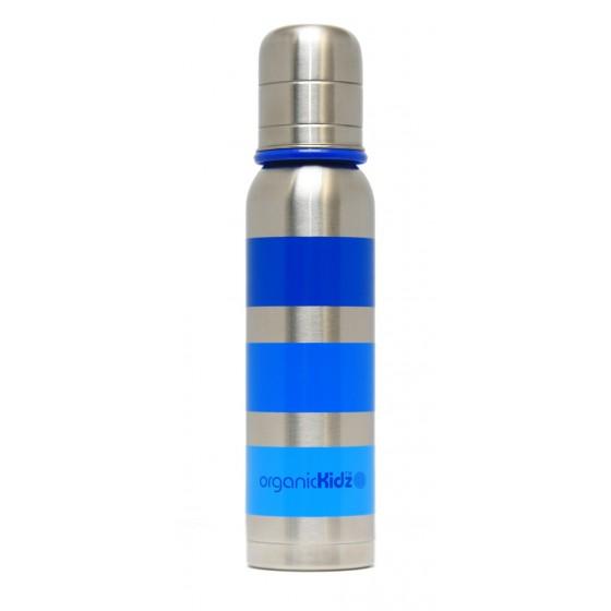 Biberon inox Isotherme Goulot Etroit 270 ml - RAYURES BLEU - ORGANIC KIDZ