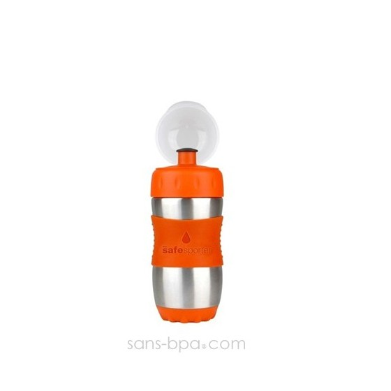 SAFE SPORTER - Gourde inox 355 ml - ORANGE - KID BASIX