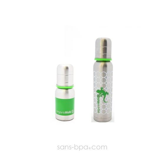 Lot 2 biberons inox Goulot Etroit 120 + 270 ml - Green