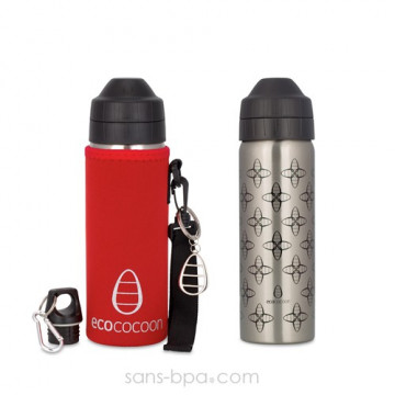 Pack gourde isotherme 600 ml Cocoon Flower & sa housse Rouge - Ecococoon