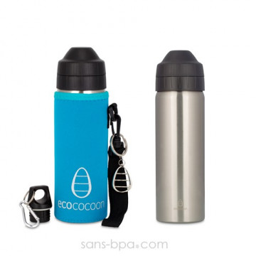 Pack gourde isotherme 600ml Silver & sa housse Azur - Ecococoon