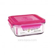 Contenant verre Meal Cube 900ml - Framboise