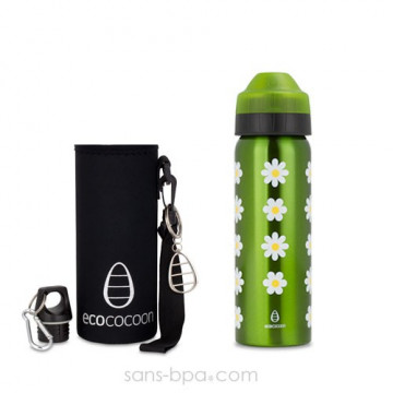 Pack gourde isotherme 600 ml Daisy & sa housse Black -Ecococoon