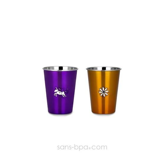 Lot 2 verres FLEUR & LICORNE