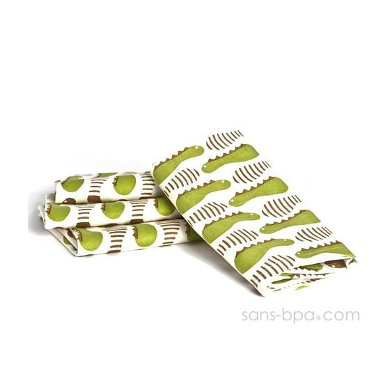 Lot 4 serviettes Set coton recyclé PAPILLONS